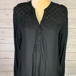 American Eagle Outfitters Black Eyelet Pullover